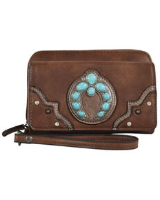 Justin Women's Turquoise Naja Concho Squash Blossom Brown Wristlet Wallet, Brown, hi-res