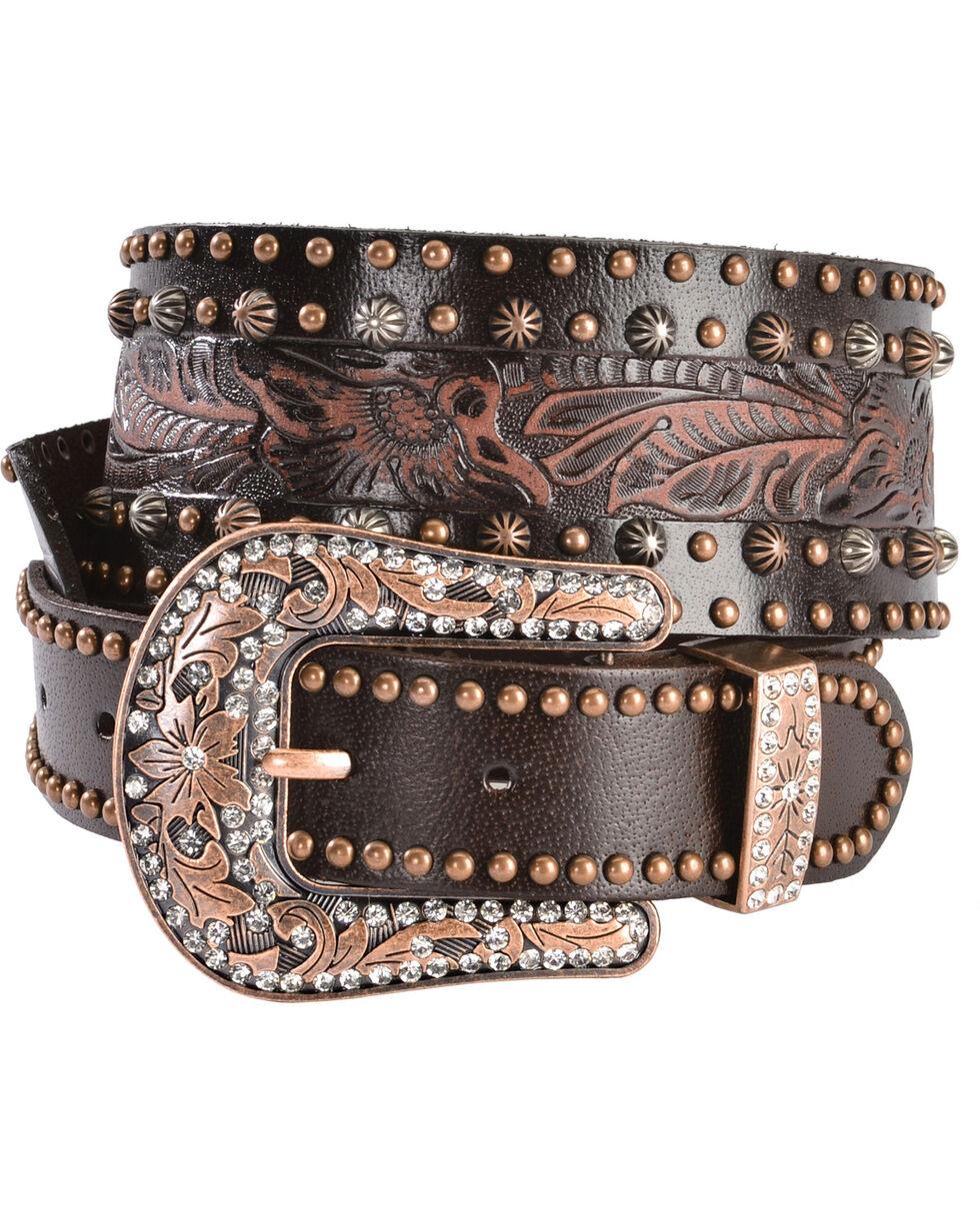 Angel Ranch Women's Studded Leather Belt, Brown, hi-res