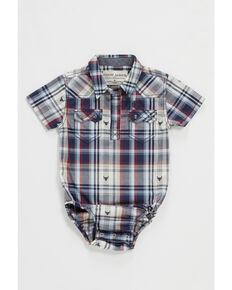 Cody James Infant Boys' Bull Dobby Plaid Short Sleeve Snap Western Onesie , Navy, hi-res