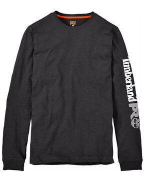 Timberland Men's Base Plate Blended Logo Sleeve Work T-Shirt- Big & Tall , Black, hi-res