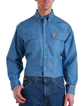 Wrangler Men's Flame Resistant Long Sleeve Work Shirt, Blue, hi-res