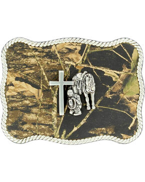 Nocona Camo Cowboy Prayer Belt Buckle, Camouflage, hi-res