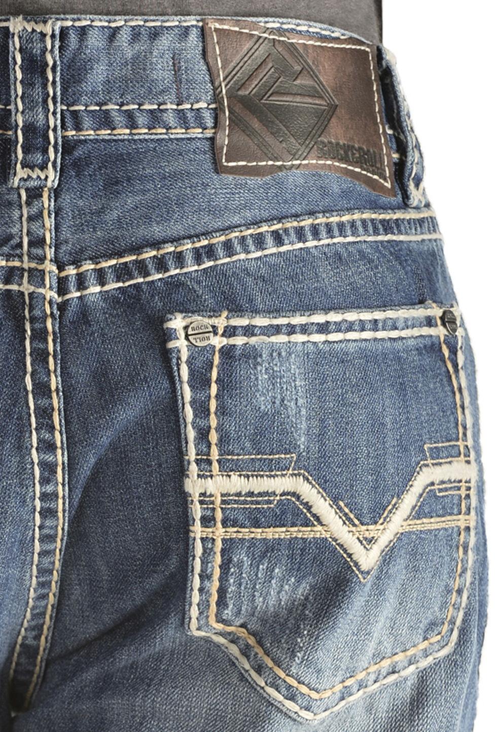 """Rock & Roll Cowboy Men's Double Barrel """"V"""" Jeans - Straight Leg, Denim, hi-res"""