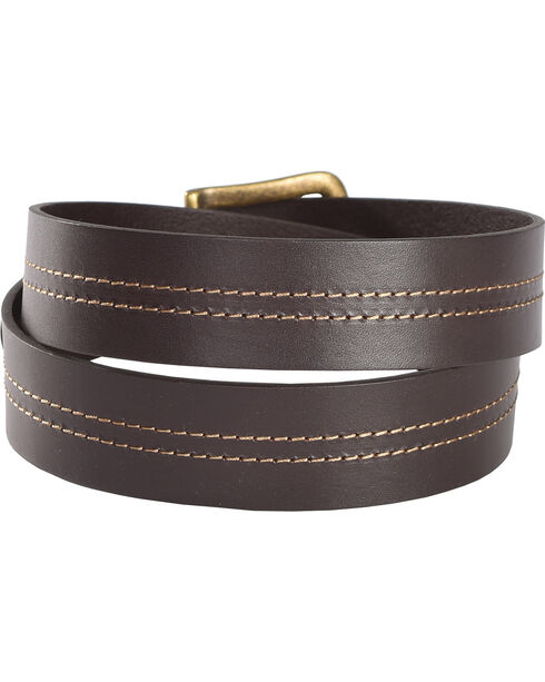 Cody James Men's Double Stitched Leather Belt, Brown, hi-res
