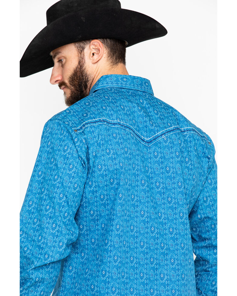 Rock 47 by Wrangler Men's Turquoise Long Sleeve Western Shirt, Turquoise, hi-res