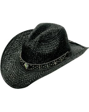 Blazin Roxx Bedecked Hat Band Black Raffia Straw Cowgirl Hat, Black, hi-res