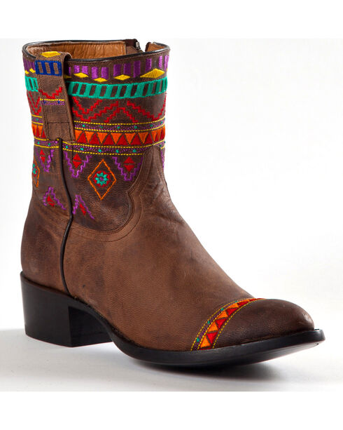 Johnny Ringo Women's Aztec Short Cowgirl Boots - Round Toe, Distressed, hi-res
