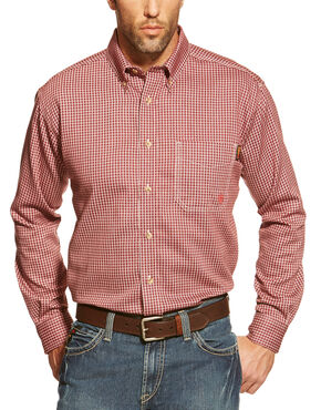 Ariat Flame Resistant Wine Plaid Work Shirt, Wine, hi-res
