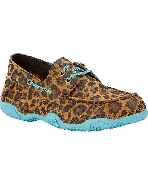 Ariat Women's Caldwell Leopard Print Boat Shoes, Tan, hi-res