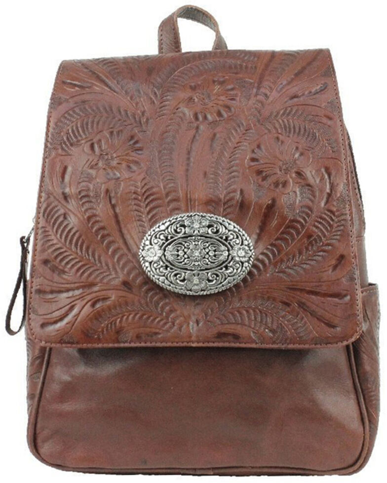 American West Women's Lariats Hand Tooled Backpack, Brown, hi-res
