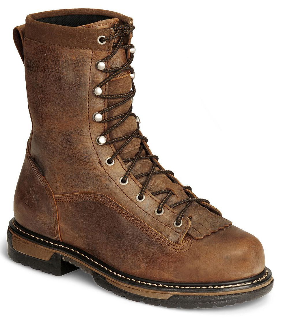 "Rocky 9"" IronClad Waterproof Work Boots - Round Toe, Copper, hi-res"