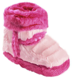 Blazin Roxx Infant Girls' Star Pink Plush Bootie Slippers, Pink, hi-res