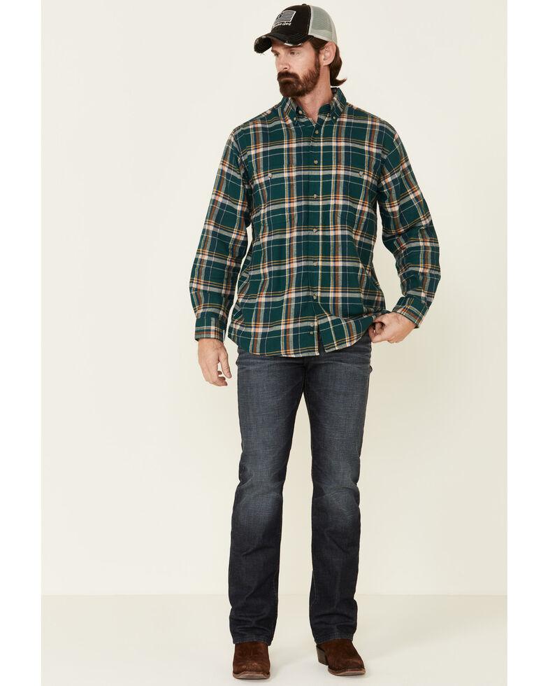 Wrangler Rugged Wear Men's Green Blue Ridge Long Sleeve Western Flannel Shirt - Big & Tall, Green, hi-res