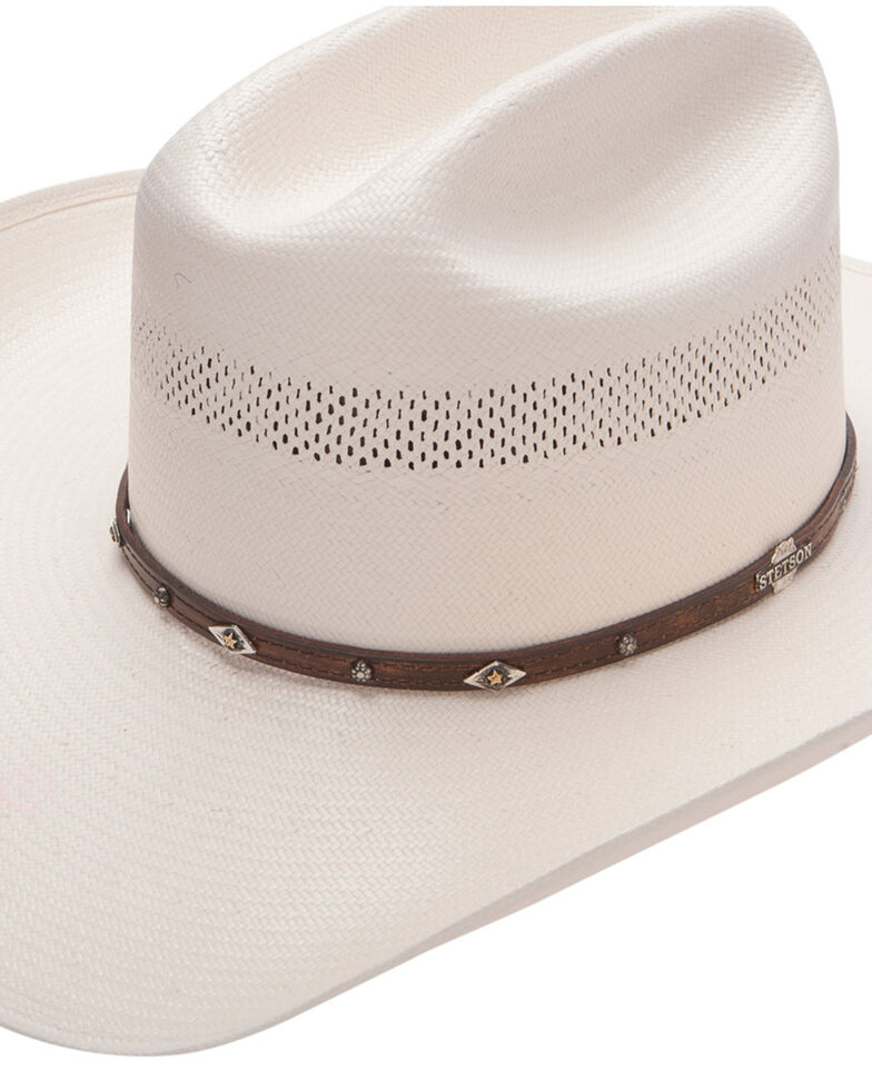 Stetson Men's Lobo 10X Straw All-Around Vent Star Concho Band Cowboy Hat, Natural, hi-res