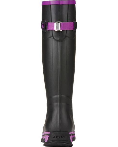 Ariat Women's Black Purple Fernlee Rubber Outdoor Boots, Black, hi-res