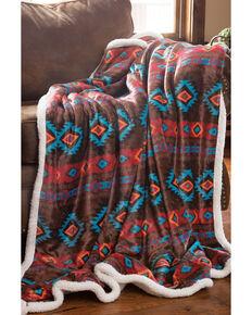 Carstens Home Wrangler Southwest Horizon Rustic Sherpa Fleece Throw Blanket, Turquoise, hi-res