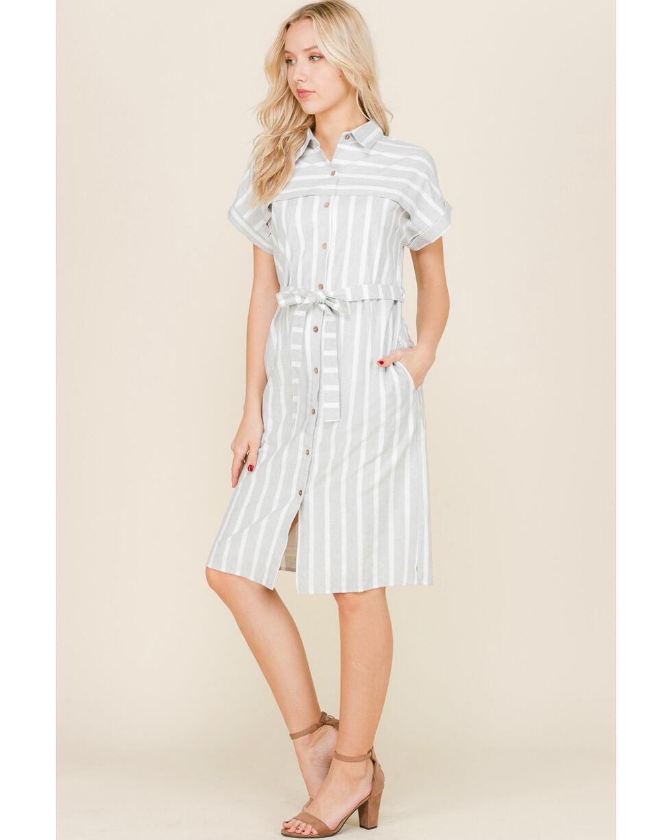 Polagram Women's Button Down Shirt Dress, Grey, hi-res