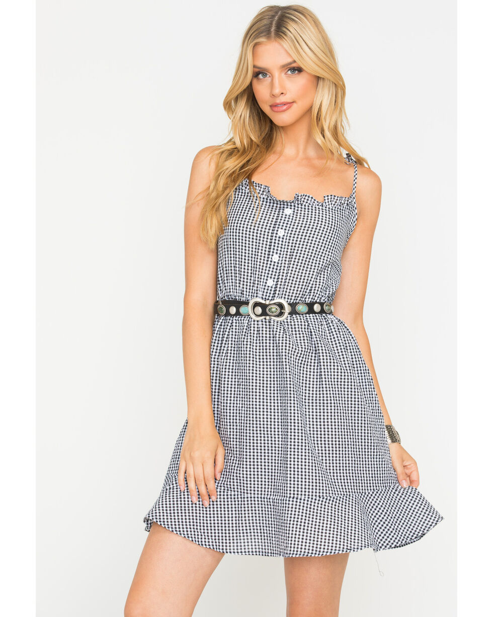 Sage the Label Women's Gingham Stay Awhile Dress , Black, hi-res