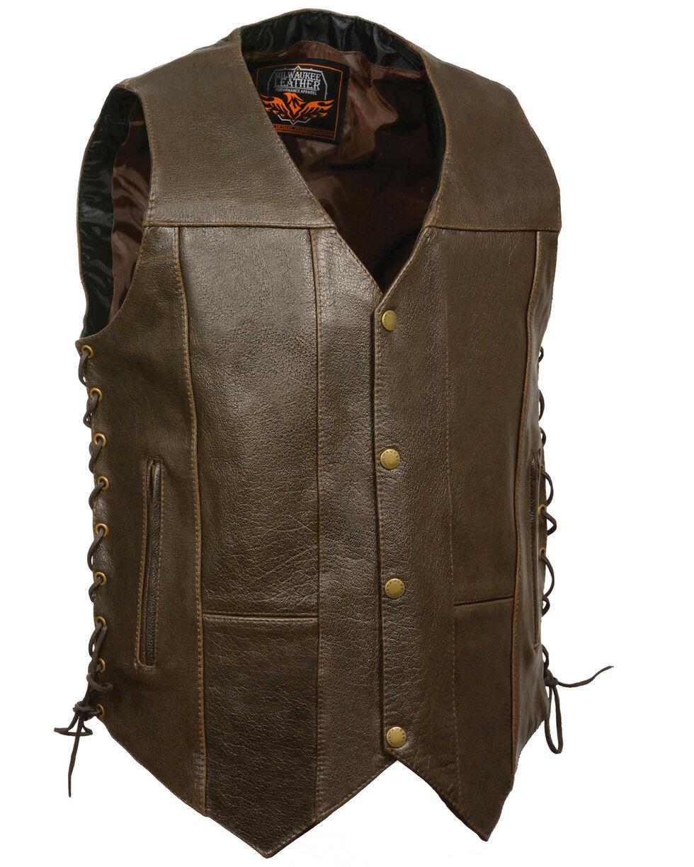 Milwaukee Leather Men's Retro Brown 10 Pocket Side Lace Vest - XBig, Brown, hi-res