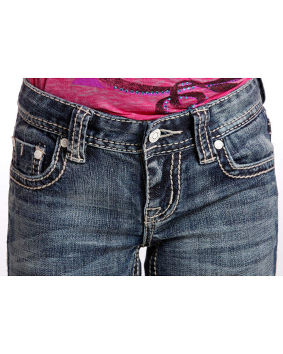 Rock & Roll Cowgirl Girls' Tribal Embroidered Jeans - Boot Cut , Dark Blue, hi-res