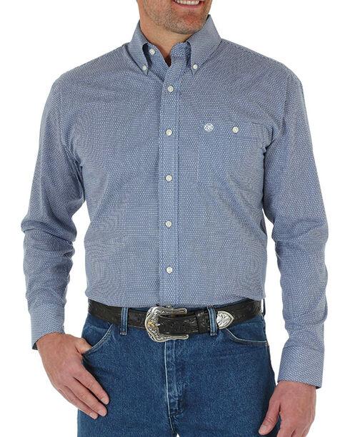 Wrangler Men's Mini Print Long Sleeve Shirt, Blue, hi-res
