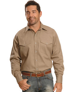 Crazy Cowboy Men's Beige Western Work Shirt , Beige, hi-res