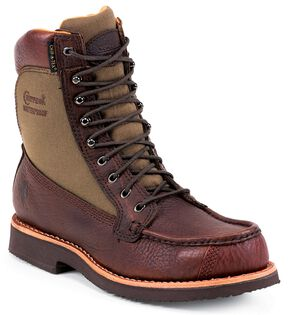 "Chippewa Waterproof 8"" Lace-Up Work Boots - Moc Toe, Brown, hi-res"