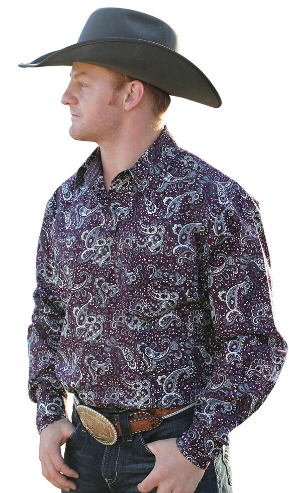 97d8541e4f Cinch Men s Burgundy Paisley Modern Fit Snap Western Shirt