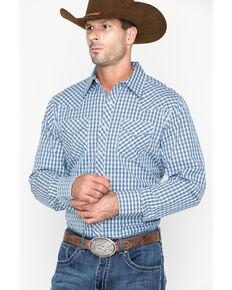 43b61e2a Roper Mens Original Rugged Check Plaid Long Sleeve Western Shirt , Blue,  hi-res