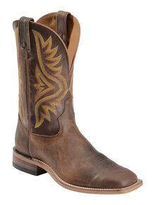 Tony Lama Tan Worn Goat Leather Americana Cowboy Boots - Square Toe, Tan, hi-res