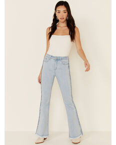 Grace in LA Women's Distressed Flare Leg Jeans, Blue, hi-res