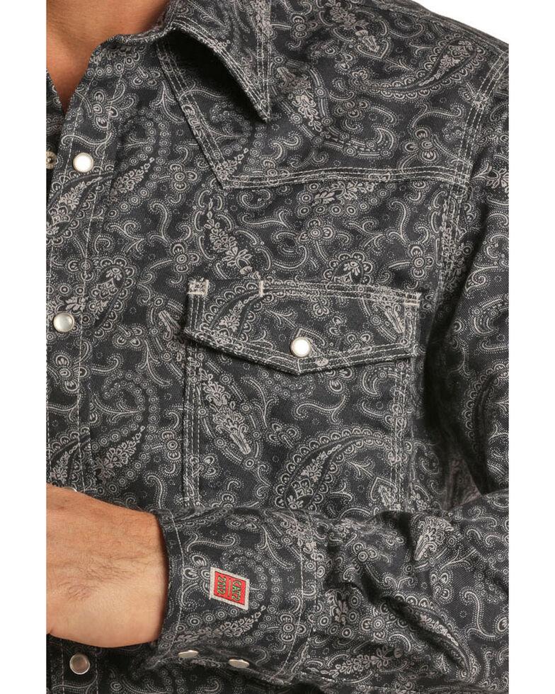 Rock & Roll Denim Men's FR Black Paisley Long Sleeve Work Shirt - Big , Black, hi-res