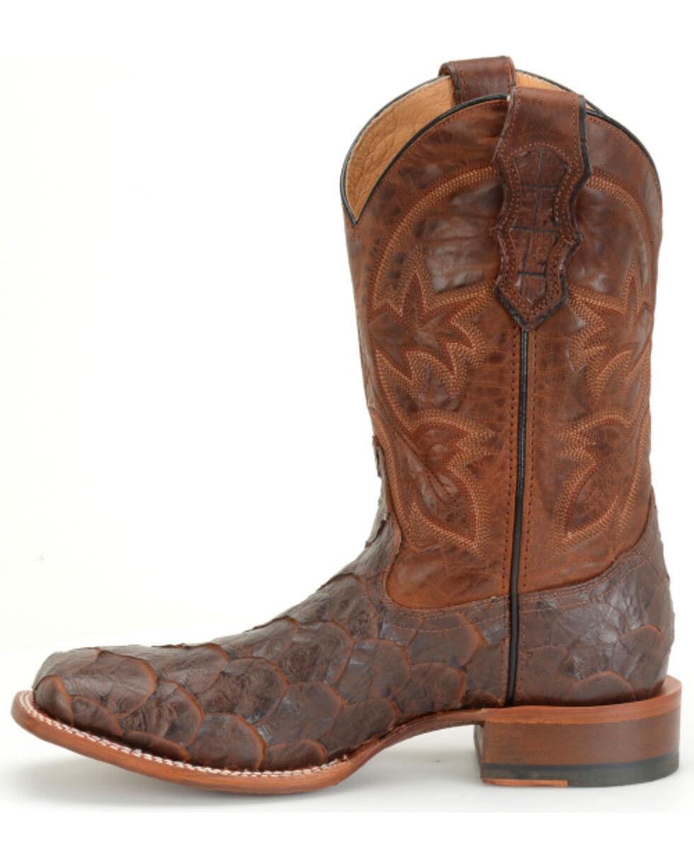 "Double H Men's 11"" Sea Bass Print Boots - Square Toe , Brown, hi-res"