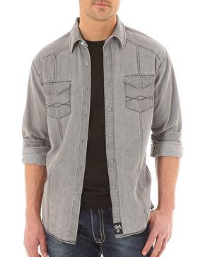 Wrangler Rock 47 Men's Grey Long Sleeve Western Shirt, Grey, hi-res