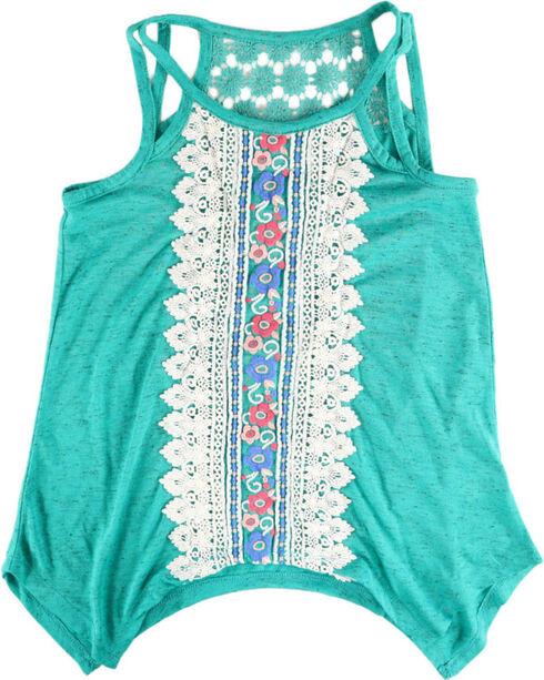 Self Esteem Girls' Embroidered Sleeveless Tank, Turquoise, hi-res