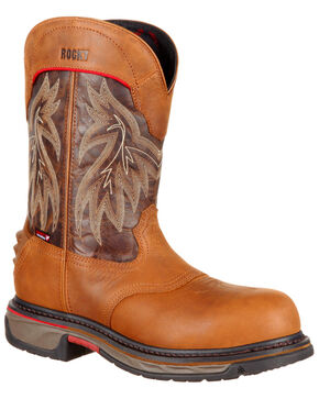 Rocky Men's Iron Skull Waterproof Western Boots - Safety Toe, Dark Brown, hi-res