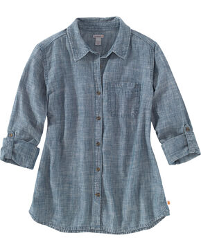Carhartt Women's Indigo Dodson Chambray Long Sleeve Shirt , Indigo, hi-res