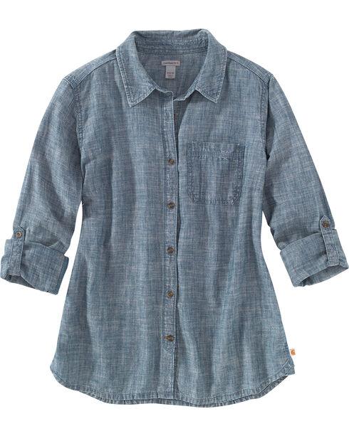 Carhartt Women's Indigo Dodson Chambray Long Sleeve Shirt , Indigo, hi-res