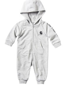 Carhartt Toddler Boys' Long Sleeve Hooded Graphic Coveralls , Grey, hi-res