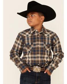 Ariat Boys' Hoboken Retro Plaid Long Sleeve Snap Western Shirt , Navy, hi-res