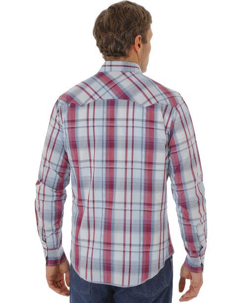 Wrangler Men's Western Plaid Long Sleeve Shirt, Red, hi-res