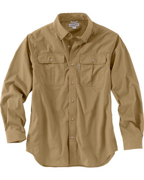 Carhartt Men's Foreman Long Sleeve Work Shirt, Beige, hi-res