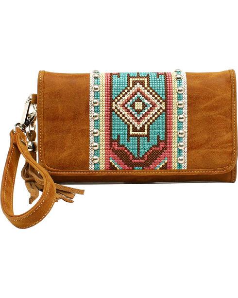 Blazin Roxx Shania Collection Aztec Ribbon Clutch, Tan, hi-res