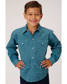 Roper Boys' West Made Turquoise Two Tone Geo Print Long Sleeve Western Shirt , Turquoise, hi-res