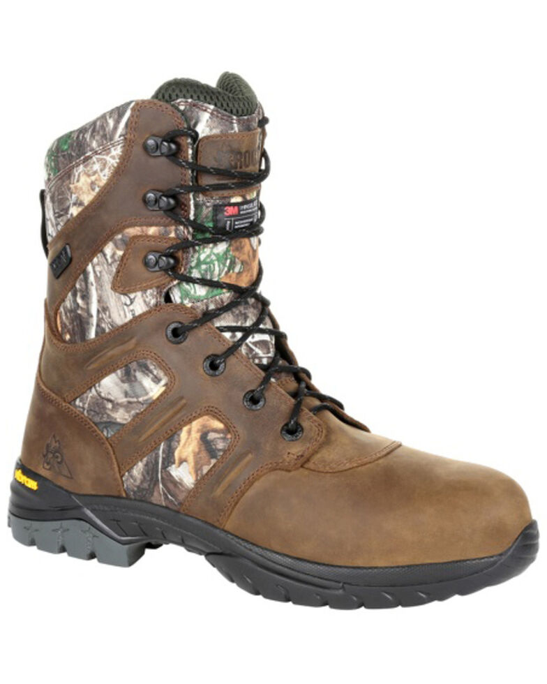 Rocky Men's Deerstalker Waterproof Outdoor Boots - Soft Toe, Bark, hi-res