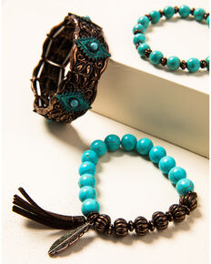 Shyanne Women's Willow Moon Turquoise Bead Copper Stretch Bracelets, Rust Copper, hi-res