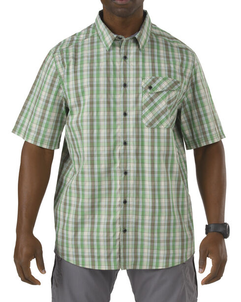 5.11 Tactical Covert Single Flex Shirt, Green Plaid, hi-res