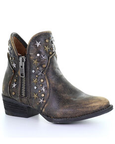 Corral Women's Black Zipper Studded Western Fashion Booties - Round Toe , Black, hi-res