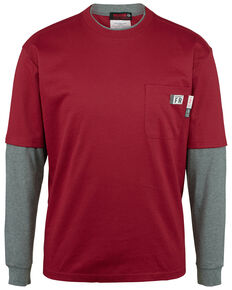 Wolverine Men's FR Red Miter Long Sleeve Work T-Shirt , Dark Red, hi-res