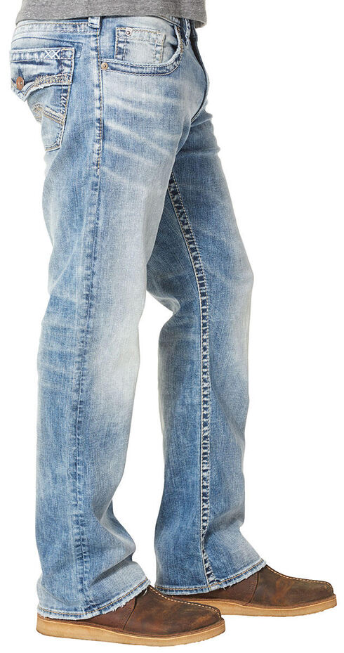 Silver Jean's Men's Zac Light Wash Relaxed Fit Jeans - Straight Leg , Indigo, hi-res